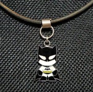 Batman Antique Black Leather Superhero Necklace